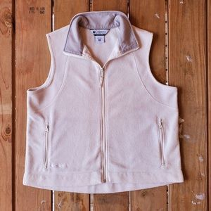Columbia Women's 1X Zip Up Fleece Vest, off-white